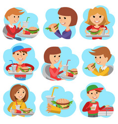 Fast food restaurant people icones isolated on vector