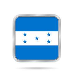 flag of honduras metallic gray square button vector image