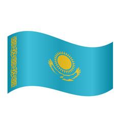 flag of kazakhstan waving on white background vector image