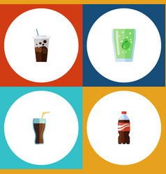 Flat icon drink set of fizzy drink cup vector