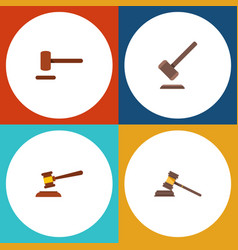 flat icon hammer set of tribunal defense court vector image