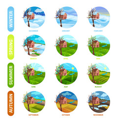 flat set of 12 months of the year winter vector image