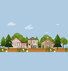 Forrest wood houses facades background vector