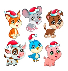 Funny Christmas farm animals vector image