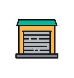 Garage for cars temporary storage flat color line vector