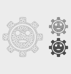 Gear angry smiley mesh network model and vector