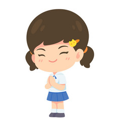 girl student in pay respect post vector image