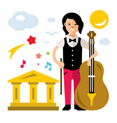 girl with cello flat style colorful vector image