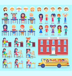 Girls and boys stickers school and bus vector