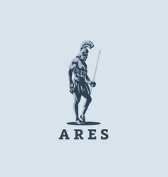 god ares or mars with a spear vector image