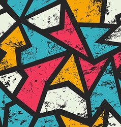 Graffiti geometric seamless pattern with grunge vector