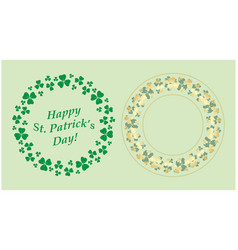 green clover and gold decorative round frames vector image