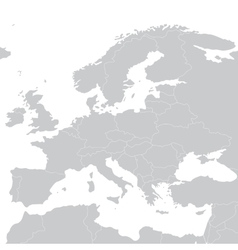 Grey political map of europe vector