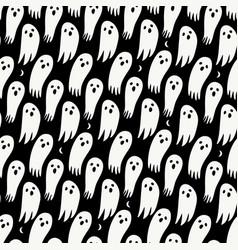 halloween ghost seamless pattern on black vector image