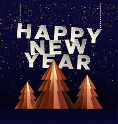 happy new year card gold paper cut pine tree vector image