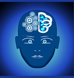Head brain gears process of thinking human vector