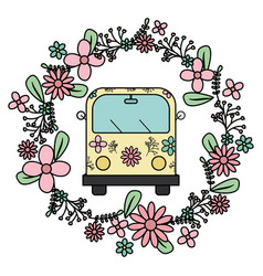 hippie van with floral print and flowers crown vector image