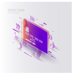 isometric credit card on white vector image