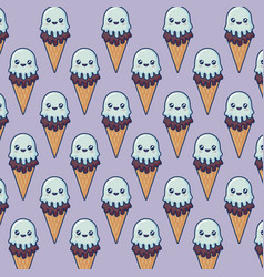 Kawaii ice cream design vector