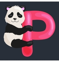 Letter p with animal panda for kids abc education vector