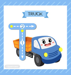 Letter t uppercase tracing truck vector