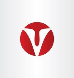 letter v red symbol vector image