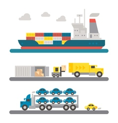 Logistic transportation machineries flat design vector image