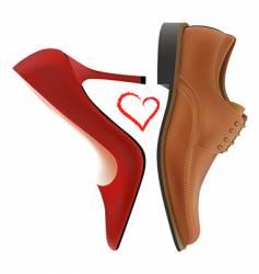 Love between shoes vector