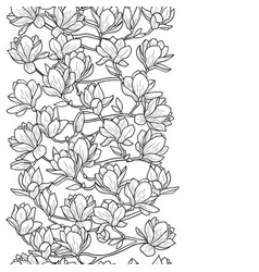 Magnolia spring seamless border vector