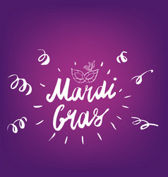 Mardi gras hand drawn lettering and mask for vector