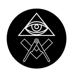 Masonic eye symbol in black circle - all seeing vector
