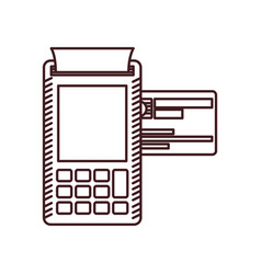 monochrome silhouette of payment terminal with vector image