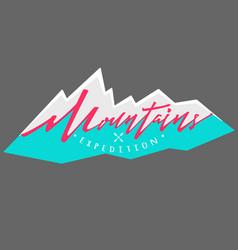 Mountains logo logotype template hand drawn vector