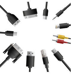 Multimedia cables round composition vector