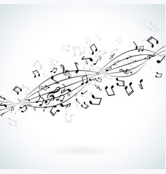 music with falling notes on white vector image