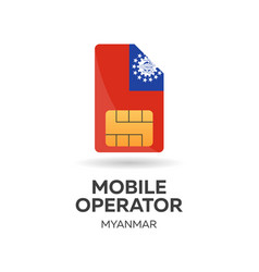 myanmar mobile operator sim card with flag vector image