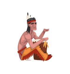 Native american indian man tribe member in vector