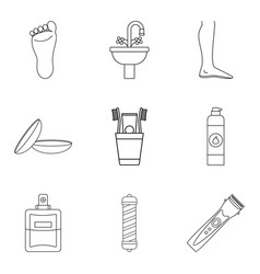 Neat icons set outline style vector