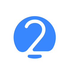 number 2 two font logo blue icon vector image