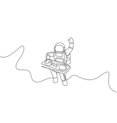 One single line drawing spaceman playing mixer vector