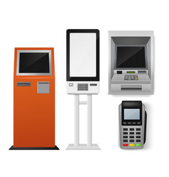 Payment terminal realistic set self-ordering vector