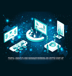 People analyst and manager start up poster vector
