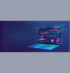 perspective laptop position with business analysis vector image