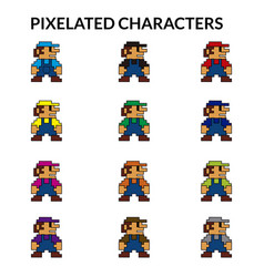Pixelated characters vector