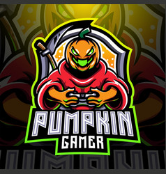 pumpkin gamer esport mascot logo vector image