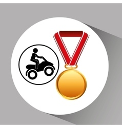 Quad bike medal sport extreme graphic vector