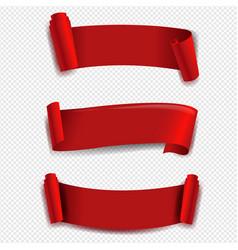 Red ribbon set transparent background vector