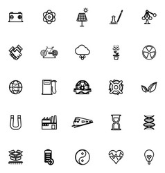 Renewable energy line icons on white background vector image
