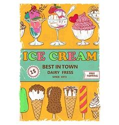 Retro ice cream poster design vector