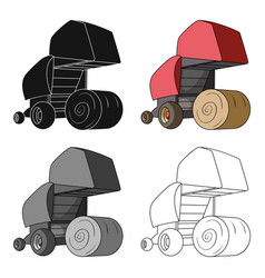 Round hay bales modern agricultural machinery for vector